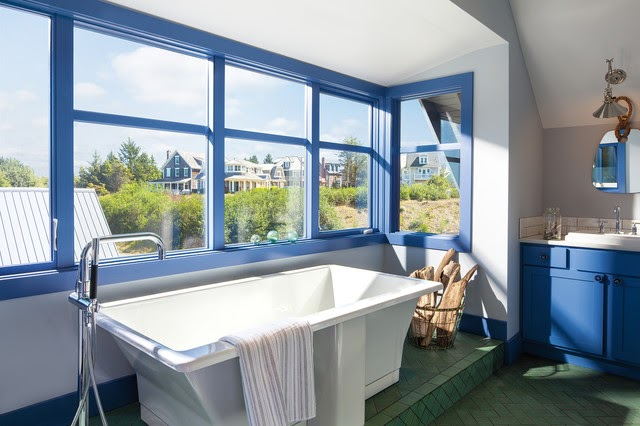 Blue colour window frames